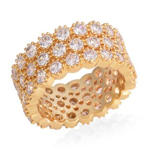 Simulated White Diamond Goldtone Eternity Band Ring (Size 6.0) TGW 10.00 cts.