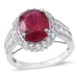 Niassa Ruby, White Topaz Sterling Silver Halo Ring (Size 10.0) TGW 8.50 cts.