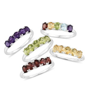 MEGA CLEARANCE Set of 5 Multi Gemstone Sterling Silver 5 Stone Line Rings (Size 5) TGW 9.32 cts.