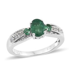 Brazilian Emerald, Cambodian Zircon Platinum Over Sterling Silver Ring (Size 7.0) TGW 1.58 cts.