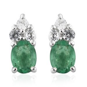Brazilian Emerald, Cambodian Zircon Platinum Over Sterling Silver Earrings TGW 0.48 cts.