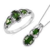 Russian Diopside Platinum Over Sterling Silver Ring (Size 9) and Pendant With Chain (20 in) TGW 2.54 cts.
