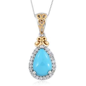 Arizona Sleeping Beauty Turquoise, Cambodian Zircon Platinum Over Sterling Silver Pendant With Chain (20 in) TGW 2.86 cts.