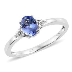 Tanzanite, Cambodian Zircon Platinum Over Sterling Silver Ring (Size 10.0) TGW 1.10 cts.