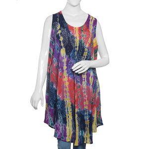 Multi Color 100% Viscose Tie & Dye, Hand Block Printed Embroidered Crepe Umbrella Dress (One Size)