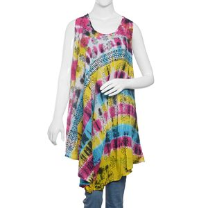 Multi Color Tie & Dye, Hand Block Printed and Embroidered Umbrella Dress (43x24 in, 100% Viscose)