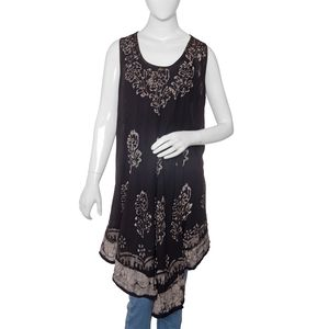 Black 100% Viscose Batik Printed and Embroidered Crepe Umbrella Dress (One Size)