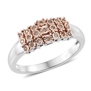 Natural Champagne Diamond 14K RG and Platinum Over Sterling Silver Ring (Size 10.0) TDiaWt 0.13 cts, TGW 0.13 cts.