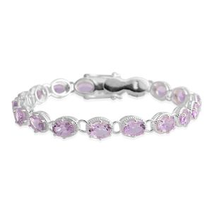 Rose De France Amethyst Sterling Silver Tennis Bracelet (7.50 In) TGW 21.78 cts.