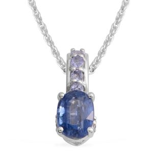 Himalayan Kyanite, Tanzanite Platinum Over Sterling Silver Pendant With Chain (20 in) TGW 1.74 cts.