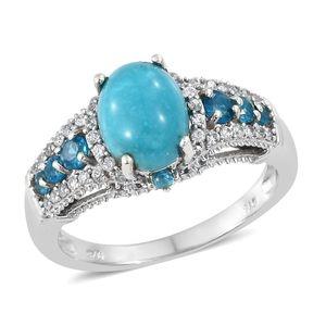 Arizona Sleeping Beauty Turquoise, Multi Gemstone Platinum Over Sterling Silver Ring (Size 5.0) TGW 3.35 cts.