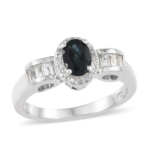 Monte Belo Indicolite, White Topaz Platinum Over Sterling Silver Ring (Size 8.0) TGW 1.26 cts.