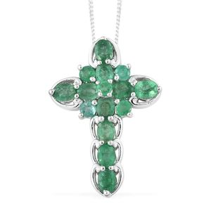 Brazilian Emerald Platinum Over Sterling Silver Cross Pendant With Chain (20 in) TGW 1.80 cts.
