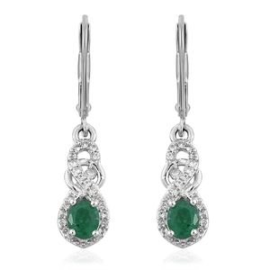 Brazilian Emerald, Cambodian Zircon Platinum Over Sterling Silver Infinity Lever Back Earrings TGW 0.85 cts.