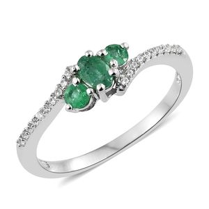 Brazilian Emerald, Cambodian Zircon Platinum Over Sterling Silver Bypass Ring (Size 7.0) TGW 0.69 cts.
