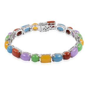Burmese Multi Color Jade Sterling Silver Bracelet (7.50 In) TGW 48.21 cts.