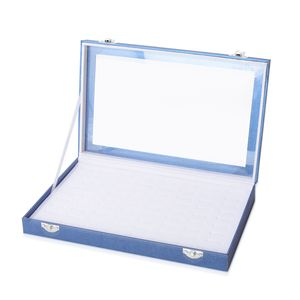 Light Blue Eco Leatherette Paper Ring Box with Acrylic Window and Latch Clasp (Approx. 72 Rings) (11.4x7.3x1.6 in)