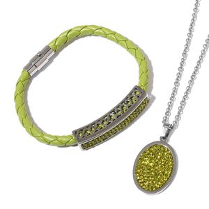 Green Austrian Crystal Green Faux Leather, Stainless Steel Bracelet (8 in) and Pendant With Chain (20.00 In) TGW 3.82 cts.