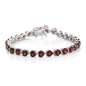 TLV Mozambique Garnet Platinum Over Sterling Silver Bracelet (6.75 In) TGW 13.23 cts.