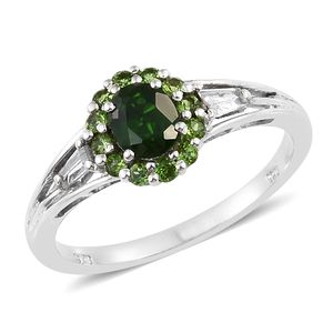 Russian Diopside, Cambodian Zircon Platinum Over Sterling Silver Ring (Size 5.0) TGW 1.36 cts.