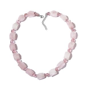 Galilea Rose Quartz, Pink Glass Silvertone Necklace (18 in) TGW 499.00 cts.