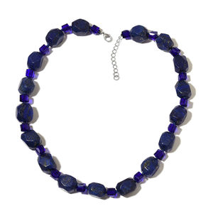 Lapis Lazuli, Simulated Blue Sapphire Silvertone Necklace (18 in) TGW 520.50 cts.