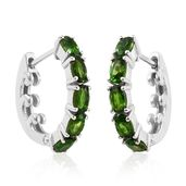 Russian Diopside Platinum Over Sterling Silver Latch Back Hoop Earrings TGW 2.50 cts.