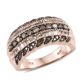 Natural Champagne Diamond Black Rhodium & Vermeil RG Over Sterling Silver Ring (Size 9.0) TDiaWt 1.00 cts, TGW 1.00 cts.