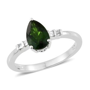 Russian Diopside, Diamond Platinum Over Sterling Silver Ring (Size 8.0) TDiaWt 0.05 cts, TGW 2.00 cts.