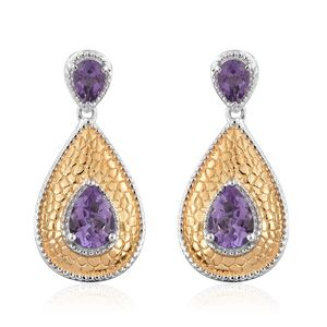 GP Rose De France Amethyst, Kanchanaburi Blue Sapphire 14K YG and Platinum Over Sterling Silver Earrings TGW 4.53 cts.