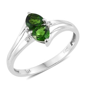 Russian Diopside, Cambodian Zircon Platinum Over Sterling Silver Bypass Ring (Size 6.0) TGW 1.07 cts.