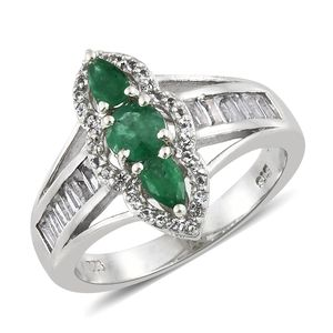 Brazilian Emerald, White Topaz Platinum Over Sterling Silver Ring (Size 10.0) TGW 1.86 cts.