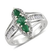 Brazilian Emerald, White Topaz Platinum Over Sterling Silver Ring (Size 7.0) TGW 1.86 cts.