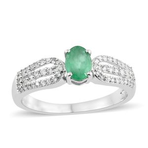 Brazilian Emerald, Cambodian Zircon Platinum Over Sterling Silver Ring (Size 8.0) TGW 1.20 cts.
