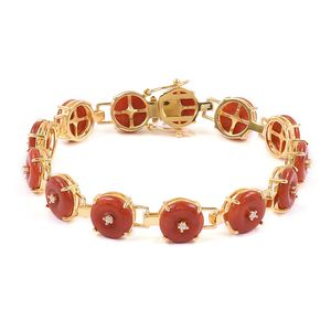 Burmese Red Jade, White Zircon 14K YG Over Sterling Silver Bracelet (7.50 In) TGW 29.25 cts.
