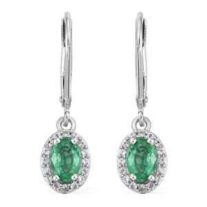 Brazilian Emerald, Cambodian Zircon Platinum Over Sterling Silver Lever Back Earrings TGW 1.20 cts.
