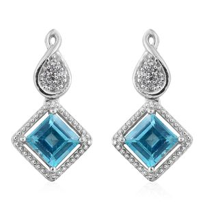 Paraiba Topaz, Cambodian Zircon Platinum Over Sterling Silver Earrings TGW 2.85 cts.