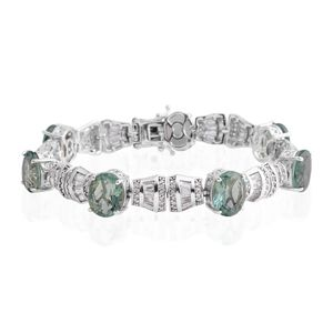 Teal Fluorite, White Topaz Platinum Over Sterling Silver Bracelet (8.00 In) TGW 39.25 cts.