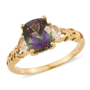 Northern Lights Mystic Topaz, White Topaz Vermeil YG Over Sterling Silver Ring (Size 8.0) TGW 4.27 cts.