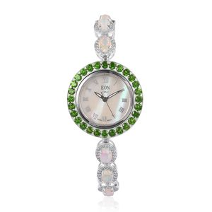EON 1962 Ethiopian Welo Opal, Russian Diopside, Natural White Zircon Swiss Movement Sterling Silver Bolo Bracelet Watch (Adjustable) TGW 10.75 cts.