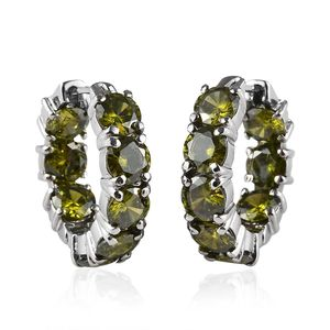 Simulated Peridot Stainless Steel Inside Out Hoop Earrings TGW 22.40 cts.