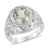 Green Amethyst Stainless Steel Ring (Size 10.0) TGW 3.25 cts.