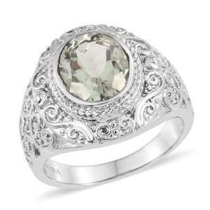 Green Amethyst Stainless Steel Ring (Size 5.0) TGW 3.25 cts.