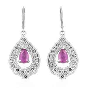 Niassa Pink Sapphire, White Topaz Platinum Over Sterling Silver Lever Back Inner Drop Earrings TGW 3.99 cts.
