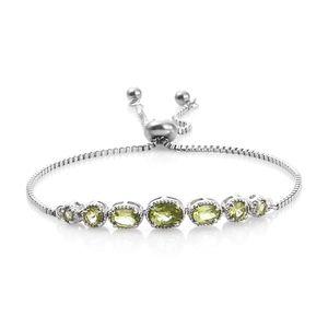 KARIS Collection - Hebei Peridot Platinum Bond Brass Bracelet (Adjustable) TGW 2.52 cts.