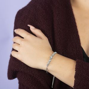 KARIS Collection - Sky Blue Topaz Platinum Bond Brass Bolo Bracelet (Adjustable) TGW 2.95 cts.