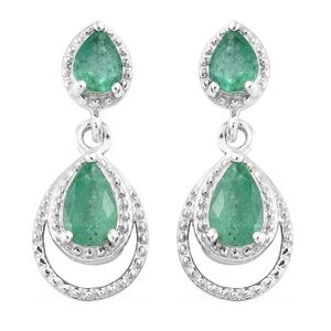 Brazilian Emerald Platinum Over Sterling Silver Earrings TGW 1.175 Cts. TGW 1.18 Cts.
