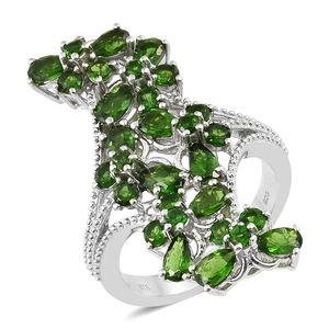 Russian Diopside Platinum Over Sterling Silver Elongated Butterfly Ring (Size 5.0) TGW 5.00 cts.