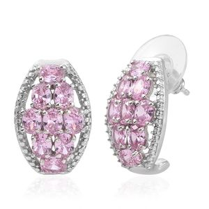 KARIS Collection - Simulated Pink Diamond Platinum Bond Brass Earrings TGW 5.16 cts.