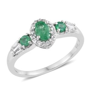 Brazilian Emerald, White Topaz Platinum Over Sterling Silver Ring (Size 8.0) TGW 1.08 cts.